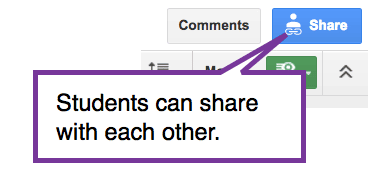 blue share button, students can share with each other.
