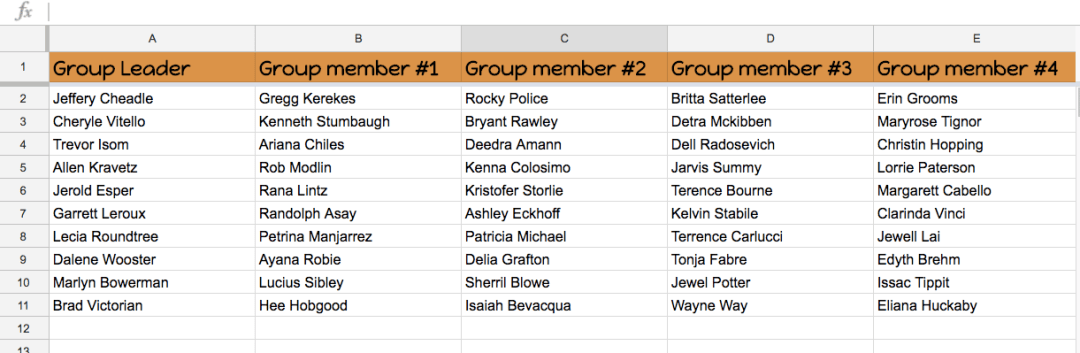 Share Spreadsheet of Group Members