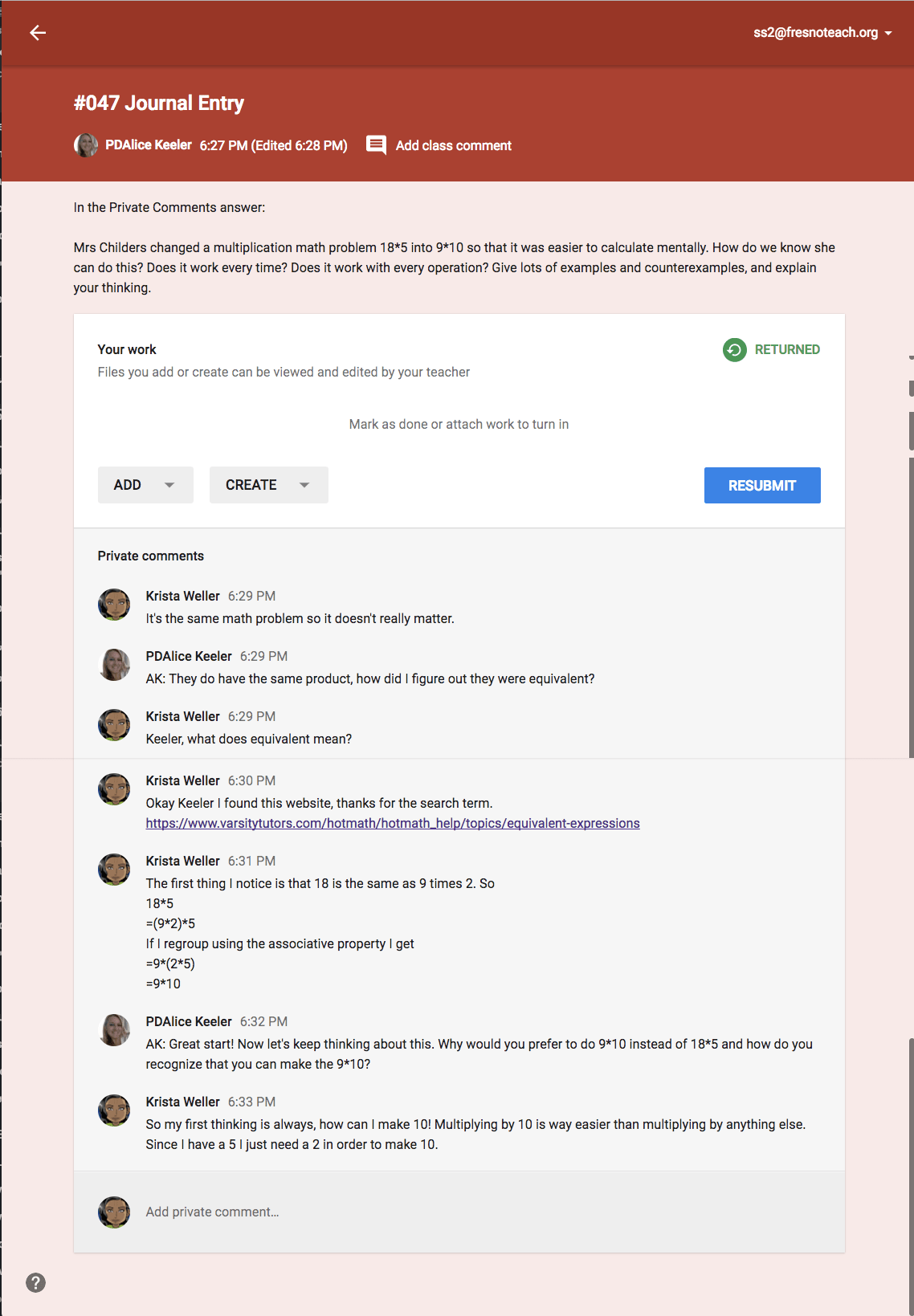 Private Comments in Google Classroom journal entry