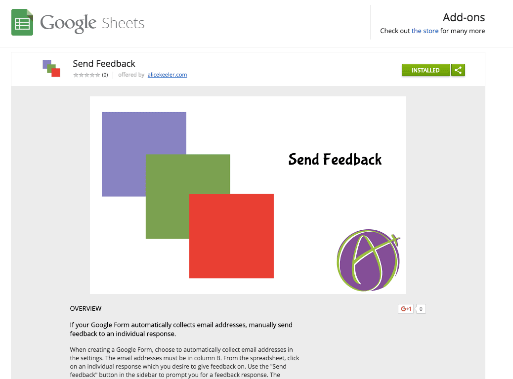 Join the Google Group and install send feedback