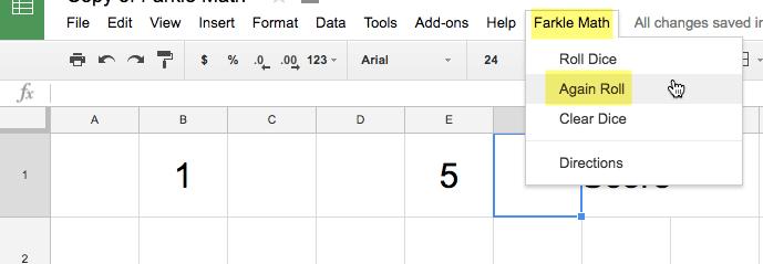 Again roll in the Farkle Math menu