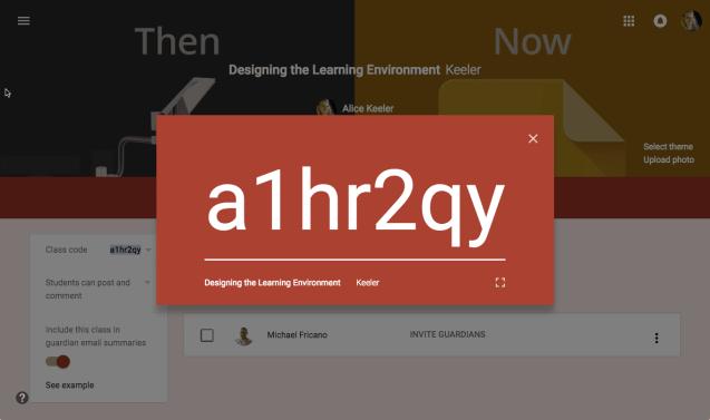 Display the Google Classroom Code