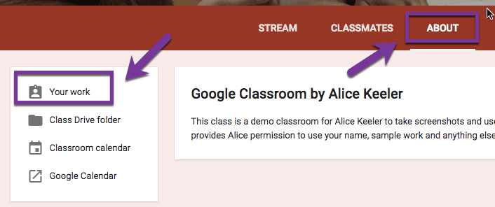 Your work icon in Google Classroom