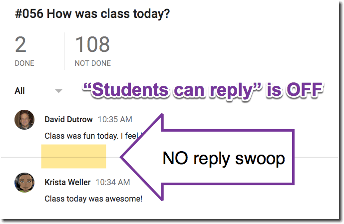 Student can not reply no swoop