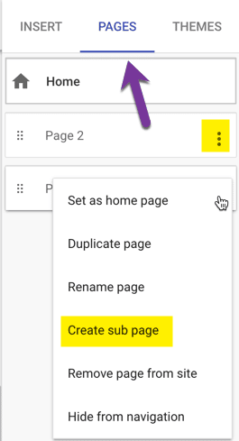 Pages tab