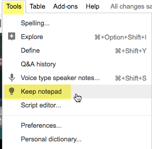 Tools menu Keep Notepad