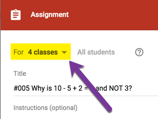 Assign to multiple classes show count of classes