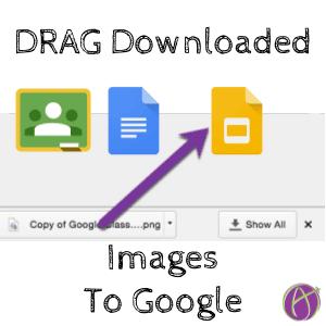 Drag downloaded images to google docs