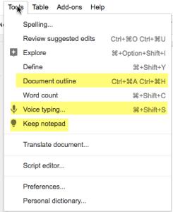Google Docs Tools Menu