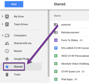 Starred in Google Drive