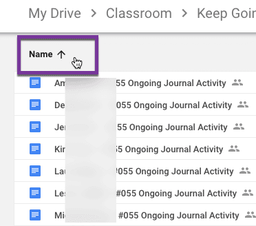 Click on name in drive to sort by name