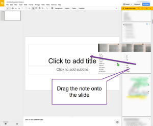 Drag Google Keep note into Slides