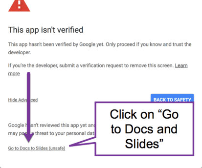 scroll down and click on go to docs to slides