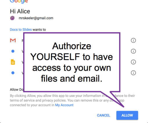 Authorize and allow yourself access