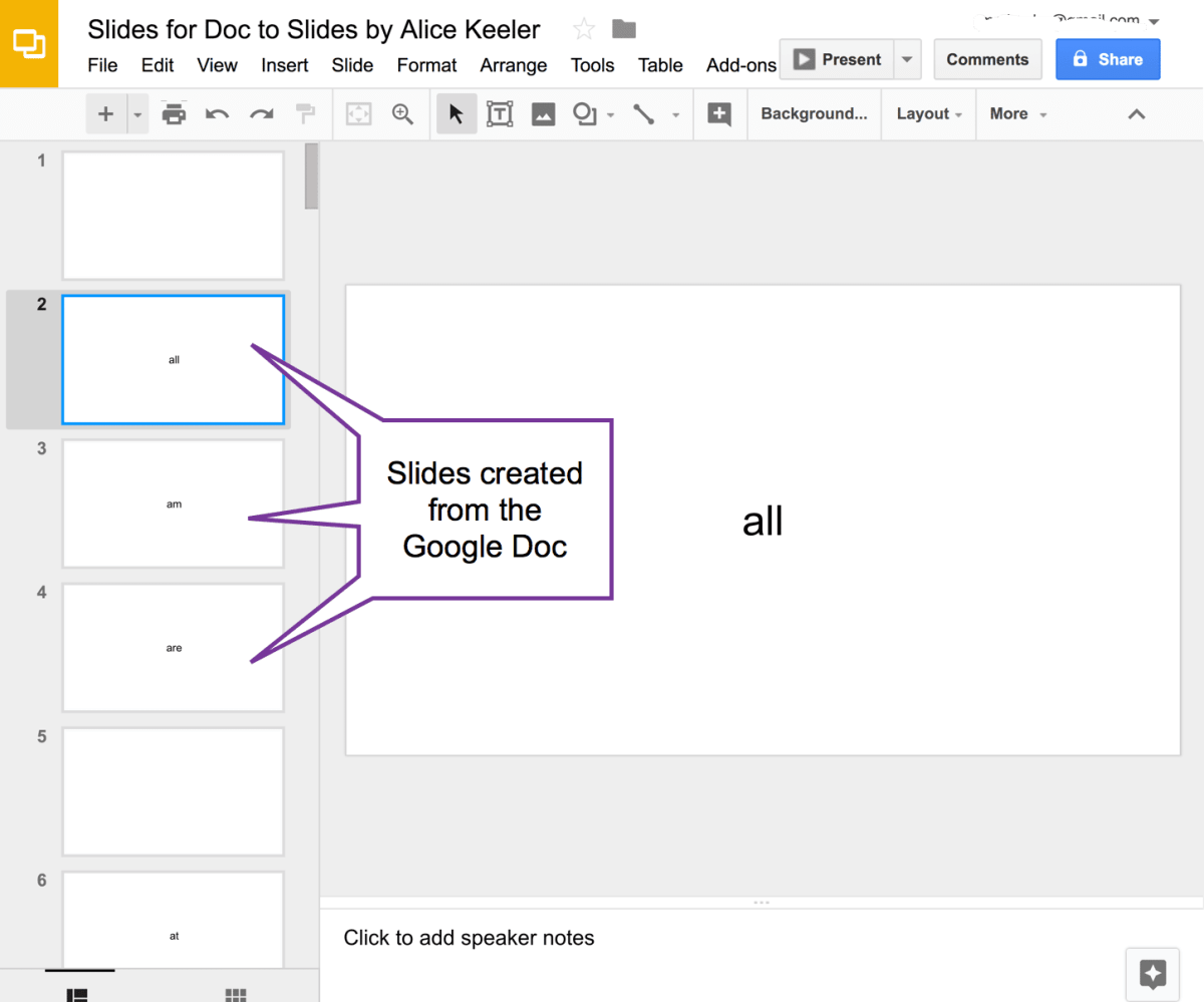 Slides created from the Google Doc