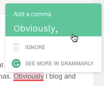 Grammarly giving a comma suggestion