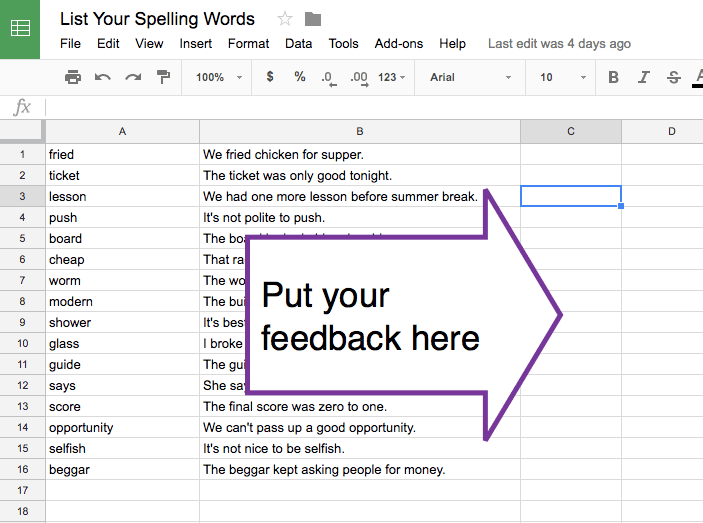 have students list stuff in a spreadsheet