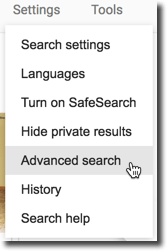 Settings advanced search