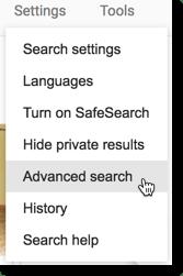 Settings advanced search
