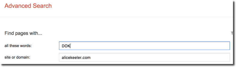 Advanced search site or domain