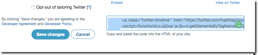 create widget copy embed code