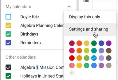 settings and sharing