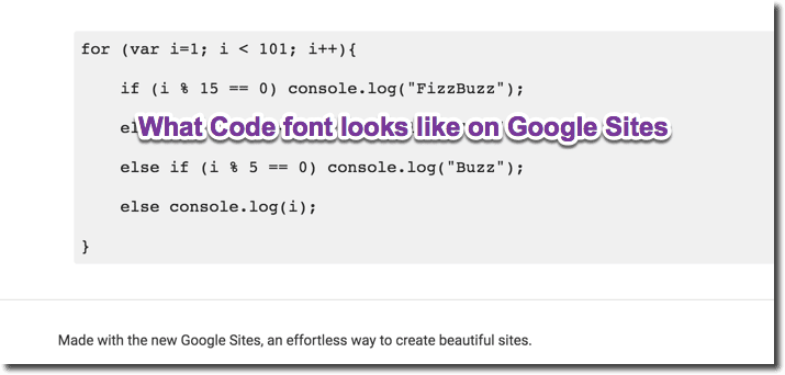 What code font looks like on Google Sites