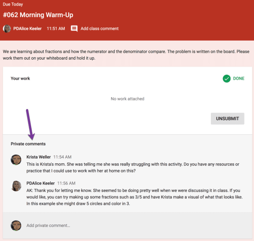 Student mom leaving private comments in Google Classroom