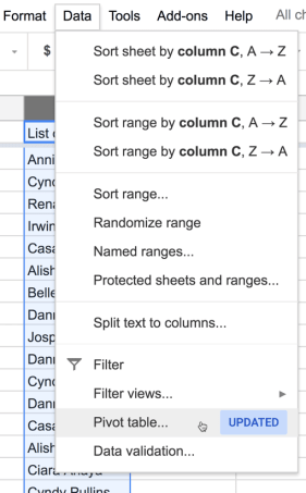 Choose Pivot Table from the data menu