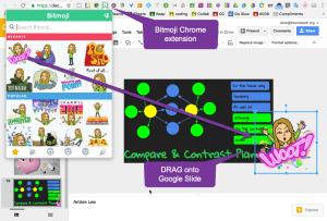 Drag Bitmoji right onto Google Slides