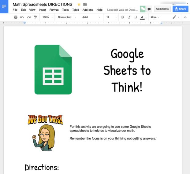 Math spreadsheets sample Google Doc