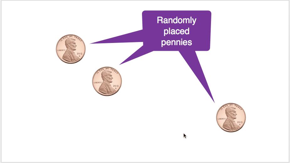 randomly placed pennies