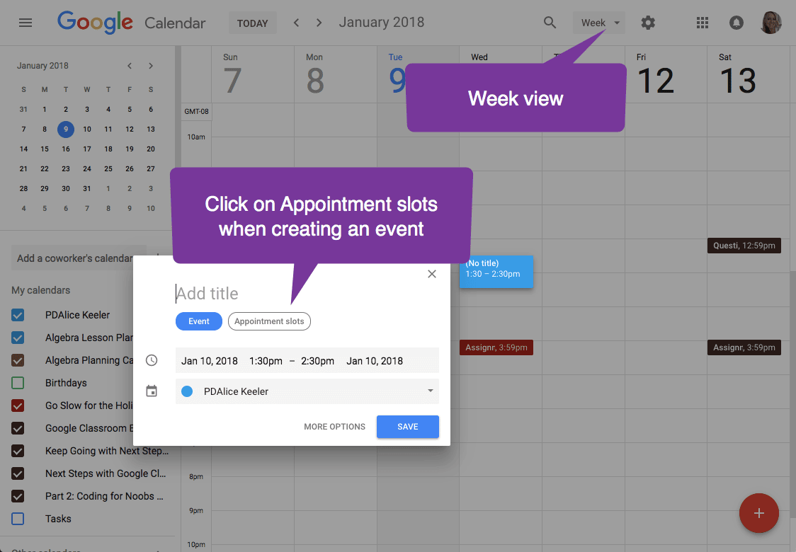 appointment slots google calendar