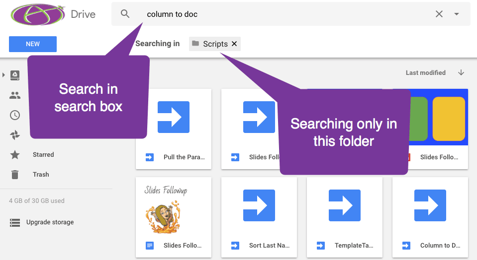Use the search box