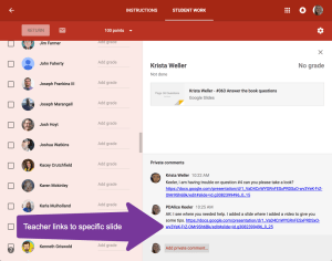 Teacher links to a Google Slide