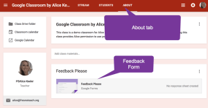 About tab for the feedback form