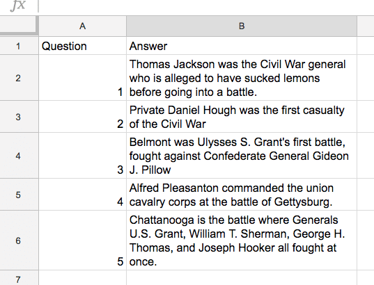 spreadsheet list of answers