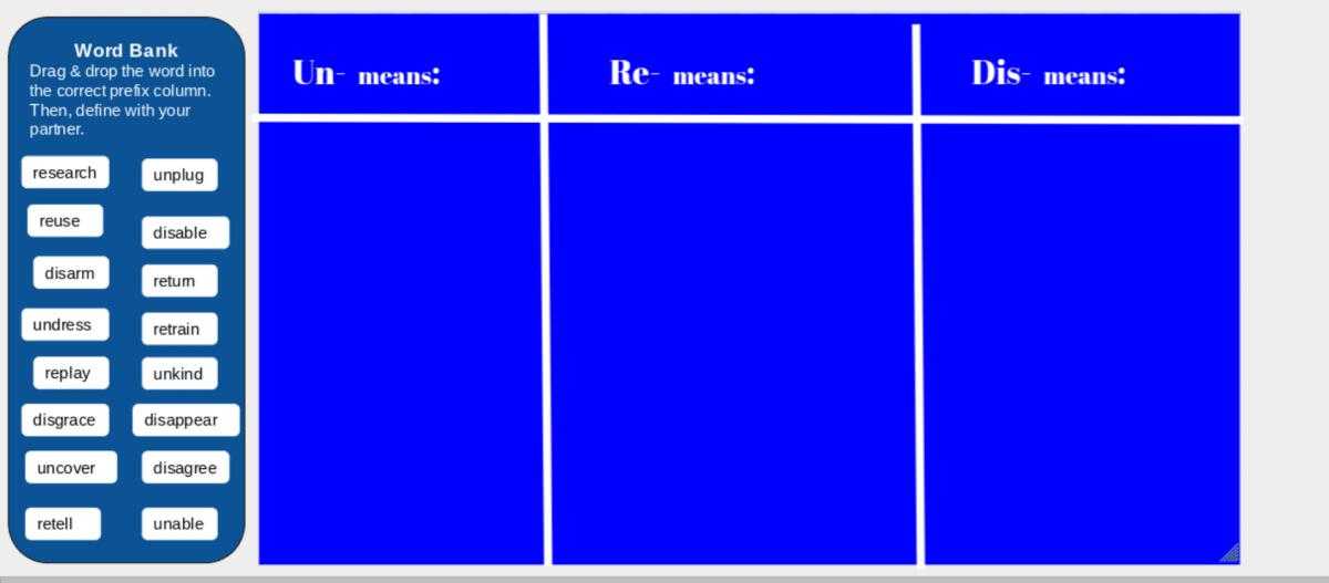 word sort example