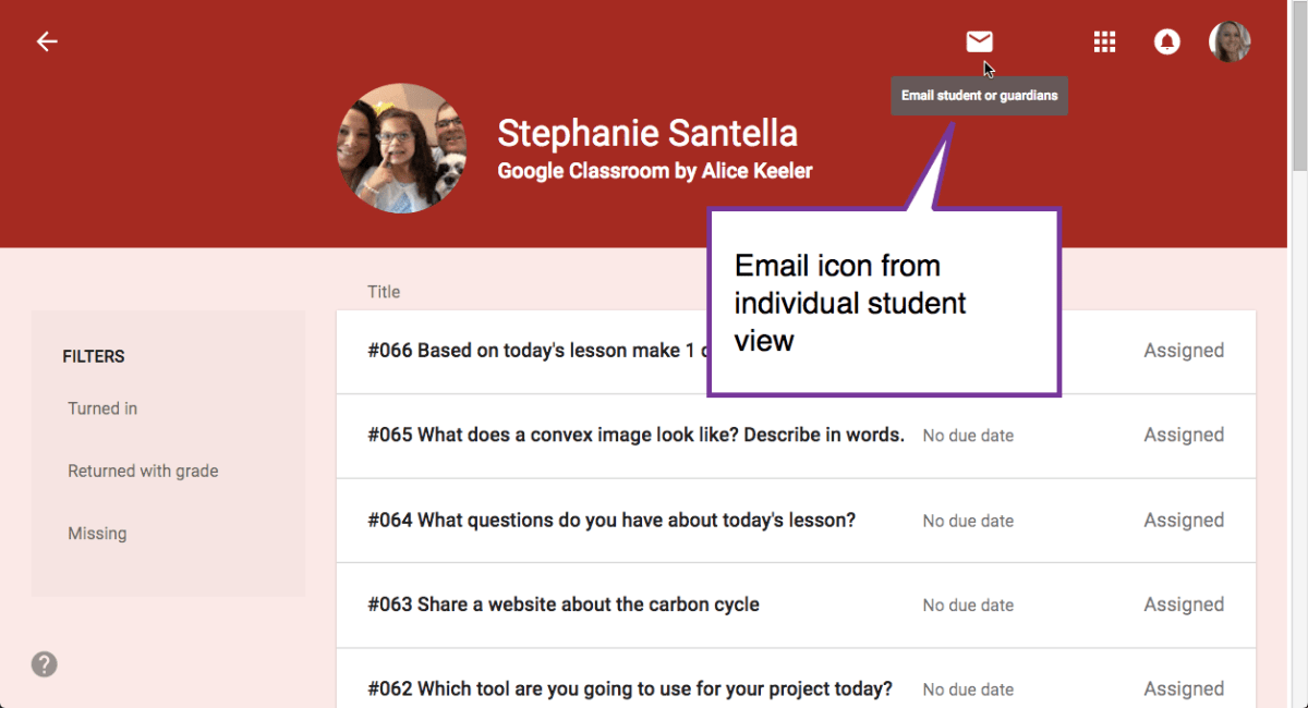 Email icon in individual student view