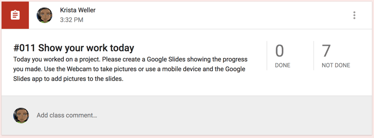 Add Google Slides to the assignment