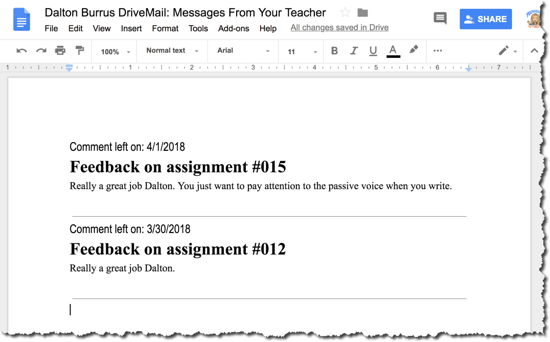 Feedback in the Google Doc