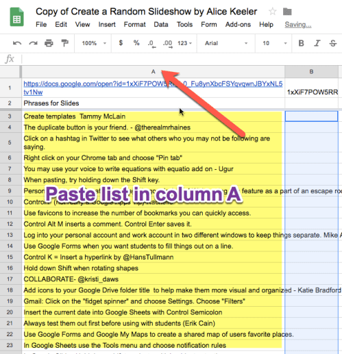 paste list into column A