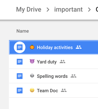 Emoji titled documents