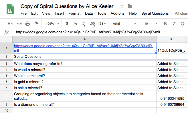 Questions added to Google Slides