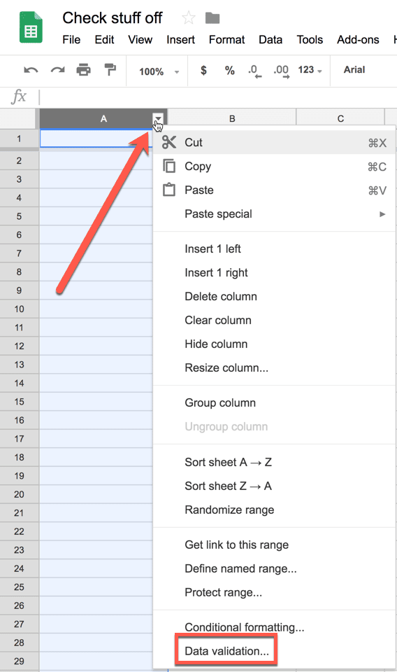 Highlight the range of cells with checkboxes