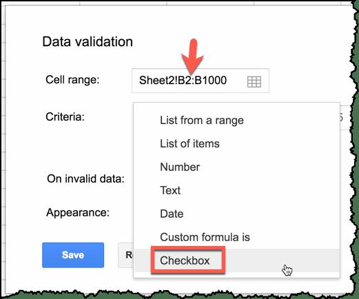 Checkbox criteria
