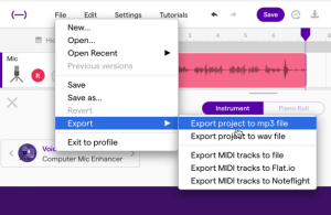 Use the file menu to export to MP3