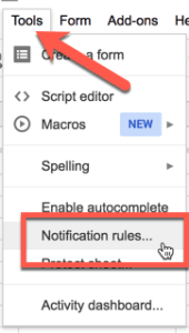 Google Sheets tools menu notification rules