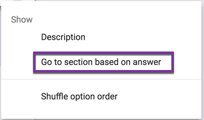 Go to section based on answer