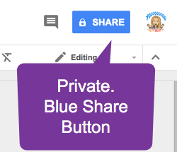 Blue Share Button Padlock